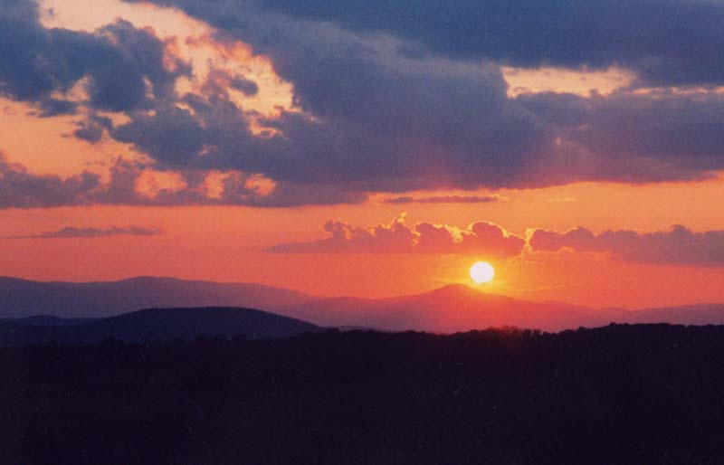 Sunset over Hunter Mountain, Catskills, in NY State