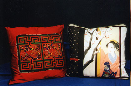 Handmade oriental silk pillows